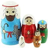 Azhna 5 piezas de sagrada familia Navidad Pascua recuerdo matryoshka decoración del hogar colección ...