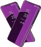 TiHen Funda Vivo Y97/V11i/Z11i,Funda + Cristal Templado 2 Piezas Flip Clear View Translúcido Espejo Standing Cover Slim Fit Mirror 360°Protectora Cubierta para Vivo Y97/V11i/Z11i Púrpura