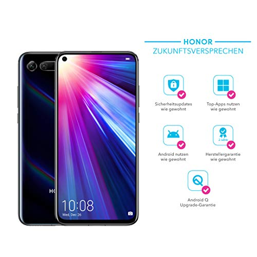 Honor View20 48MP 3D Kamera - 128GB Smartphone Bundle (6,4 Zoll, 4000mAh Akku, Dual-SIM, Android 9.0) + gratis HONOR Protective Cover [Exklusiv bei Amazon] - Deutsche Version, Midnight Black