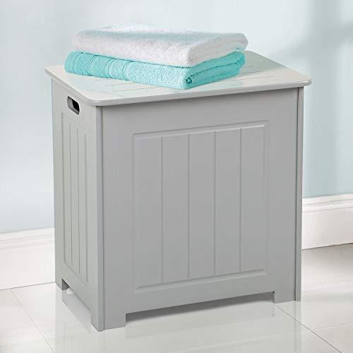 Taylor & Brown® Grått trä badrum tvättskåp förvaring skåp bröstkorg träkorg enhet