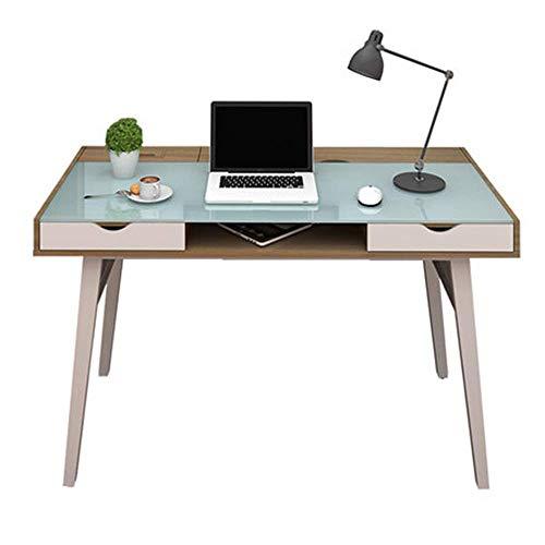ZGYQGOO Tabelle Gehärtetes Glas Haushalt einfachen Schreibtisch mit Schublade Computertisch (Farbe: Gelb)