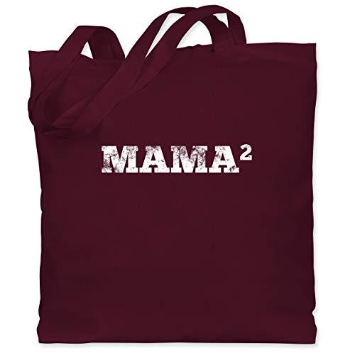Shirtracer Muttertagsgeschenk - 2-Fach Mama - Unisize - Bordeauxrot - Spruch - WM101 - Stoffbeutel aus Baumwolle Jutebeutel lange Henkel