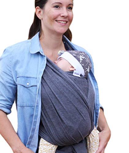 myla elastisches Tragetuch - Babytragetuch für Früh- und Neugeborene inkl. deutscher Bindeanleitung einfach zu binden weich & anschmiegsam bis 12kg Grau (grau)