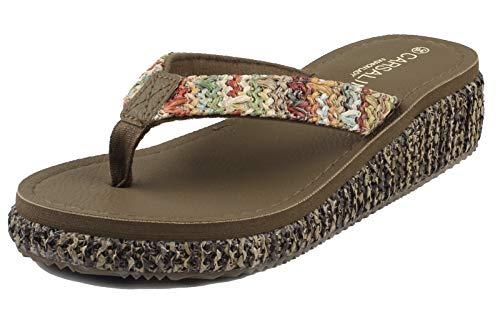 MERFUNTO Platform Sandals for Women Wedge Heels for Women Espadrille Sandals Strappy Sandals HGLX01-W1-40 Brown