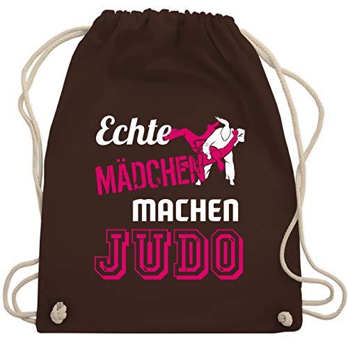 Kampfsport - Echte Mädchen machen Judo - Unisize - Braun - sporttasche judo - WM110 - Turnbeutel und Stoffbeutel aus Baumwolle