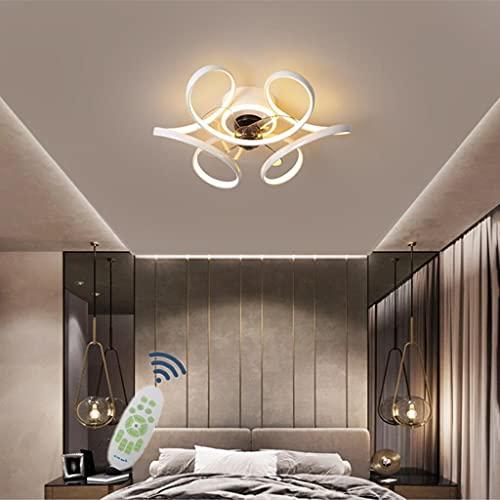 WJLL LED Lamparas Ventilador De Techo Dormitorio con Mando Distancia, Moderno Regulable Ventilador Techo con Luz Silencioso 48W con Temporizador 3 Velocidades Ventilador Techo,Blanco