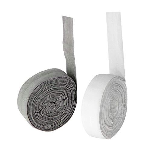 joyMerit 2X 10m Schrägband elastisches Einfassband Nahtband gefalzt 20mm Breit, Weiß + Grau