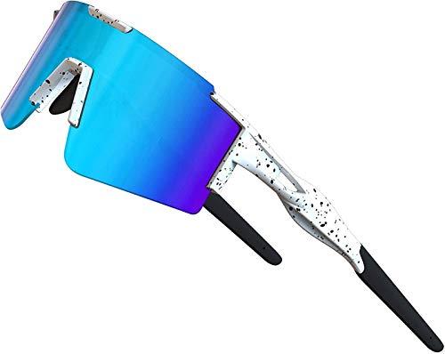 XBSXP Gafas de Sol para Bicicleta Gafas de Sol polarizadas para Ciclismo para Mujeres y Hombres Protección UV Marco Grande, Azul