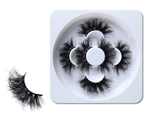 HICOCU 25mm Lashes Mink 3 Pairs False Eyelashes Dramatic Look lashes 25mm Set Pack 3D Lashes Long Volume Mink Eyelashes