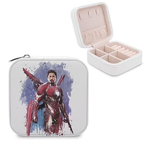 Caja de joyería de Iron Man de piel sintética pequeña portátil de viaje, caja de almacenamiento de joyas para collar, pendientes, anillos de joyería para niñas y mujeres
