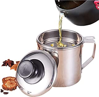 Cooking Oil Fat Separator And Bacon Grease Container Can With Fat Strainer |1.2 Quart Or 5 Cups| Perfect For Straining And Storing Grease,Stainless Steel Grease Filter Keeper