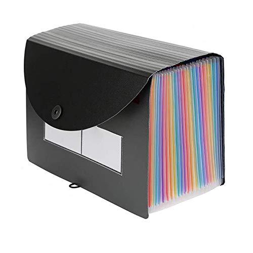 Carpeta de archivos desplegable Organizador de documentos portátil A4 Soporte de archivos de acordeón para recibo de billetes en papel Organizador de oficina (24 bolsillos con cubierta desplegable)