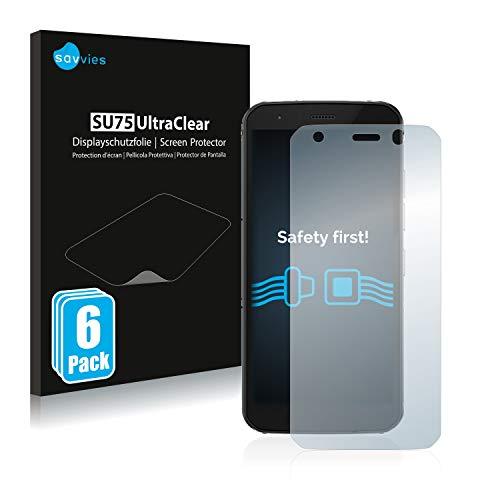 Savvies 6X Schutzfolie kompatibel mit Caterpillar Cat S52 Bildschirmschutz-Folie Ultra-transparent