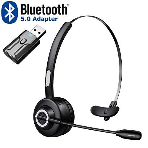 Zeonetak Bluetooth 5.0 Auricular InaláMbrico con Transmisor Receptor de Audio Bluetooth, Cómoda Reducción de Ruido de Manos Libres para Smartphone, Tableta, Móvil, Casa, Oficina, Centro de Llamadas