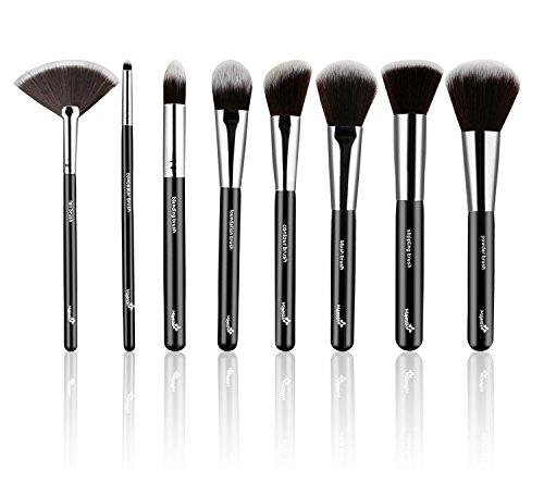 Set de 8 brochas maquillaje definitivo con estuche de cuero –Incluye ocho brochas de pelo sintético para un acabado perfecto. Brochas de la mejor calidad –Elegidas por los maquilladores profesionales