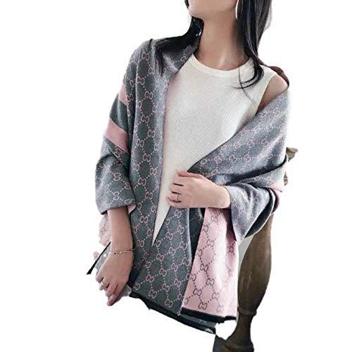 HIKUJFCG Frauen Winter Schal Kaschmir Schals Print Lady Pashmina Warme Decke Wickelt Frauen Schals Stolen, Y-37 rosa grau, 195x65cm