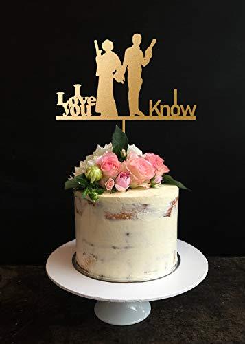 Star wars Wedding Cake Topper, Han and Leia Cake Topper, I Love You I Know Cake Topper, Personalized Cake Topper. Custom Wedding Cake Topper Birthday Anniversary Wedding Gift