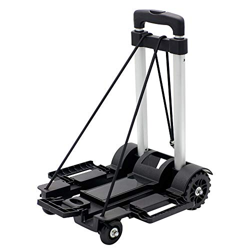 Petrala Hand Truck Foldable 4 Wheels Aluminum Dolly 150LB Capacity Heavy Duty Luggage Cart with Extended Platform for Travel Office Grocery