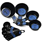 Chef Craft Easy to Read Plastic 10 Piece Blue/Black Measuring Cup and Spoon Set