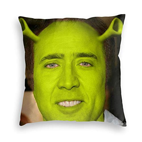 Nezuko Nicol-As Ca-Ge Shrek Velvet Throw Pillow Covers Cozy Velvet Square Throw Pillowcases Home Decor for Bed Couch Sofa Living Room Cushion Cover 18'X18'