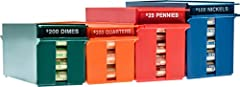Lockable quarter, dime, nickel, and penny rolled coin storage tray. Trays are fully stack-able on top of the same denomination if you purchase multiple seColor coded to match ABA standards,and tray capacities marked for easy identification. Capacity:...