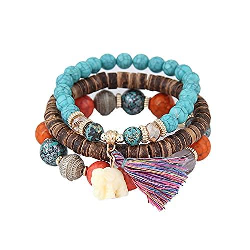 Boho Elephant Tassel Charm Wooden Beads Layered Bracelets Fashion Vintage Bohemia Turquoise Beaded…