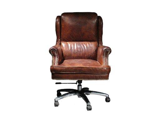 Bürosessel London Vintage Leder Büro Stuhl Drehstuhl