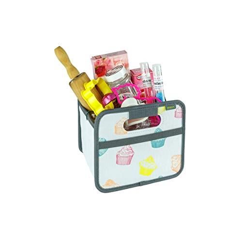 Boîte Pliante Gain de Place avec poignées et Poche Filet élastique Capacité de Charge 30 kg, Polyester, Bunt/Cupcake, Mini