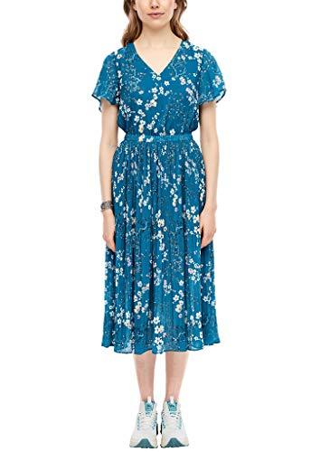 Q/S designed by - s.Oliver Damen Plissiertes Kleid mit floralem Print Petrol AOP 38