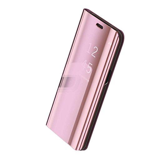 Hoes Compatibel met Galaxy S8 hoes Luxe Clear View hoes spiegel beschermhoes case flip telefoonhoes met standfunctie ultradunne PC harde achterkant