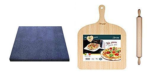 SET PER PIZZA IN PIETRA LAVICA ETNEA 39x35X2 CM - COTTURA DELLA PIZZA NATURALE - IDEA REGALO - KIT PIZZA