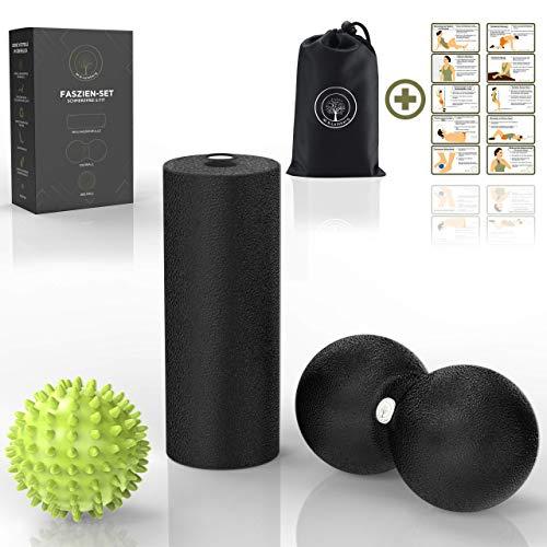 M.S.Lemberg Faszien Set (inkl. Mini Faszienrolle klein, Duoball, Igelball Fußmassage hart) Rücken Nacken - Massageball mit Noppen, Faszienball, Peanut Ball, Massage-Rolle, Faszienkugel, Noppenball