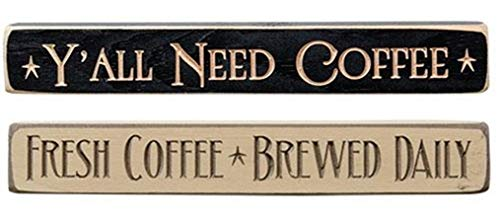 HAPPY DEALS ~ 2 PC Set | Engraved Block Tabletop Signs | Y'all Need Coffee and Fresh Brewed Coffee |12 inch | Made in USA