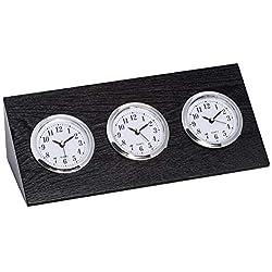 Bey-Berk Triple Time Zone Clock in Black Wood