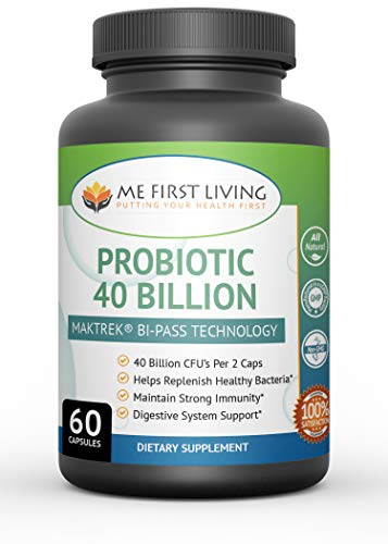 Me First Living Probiotic 40 Billion CFU Supplement with MAKTREK Bi-Pass Technology, Triple Strength, Non-GMO, for Men and Women - 60 Capsules