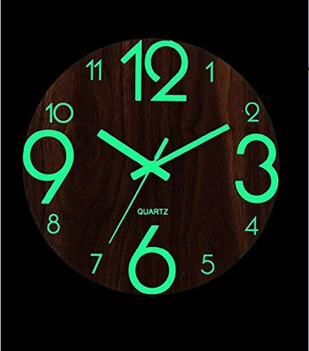 Ayanx Houten Wandklok Lichtgevend Aantal Hangende Klokken Rustig Donker Gloeiende Wandklokken Moderne Horloges Decoratie Voor Woonkamer 30 * 30cm