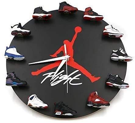 ZZW JoonieHouse Air Jordan Wall Clock,Sneaker Clock with Silent Hand Movements,3D Mini Sneakers Wall Clock with 1 to 12 Mini Sneakers, Best Gift for friendsA