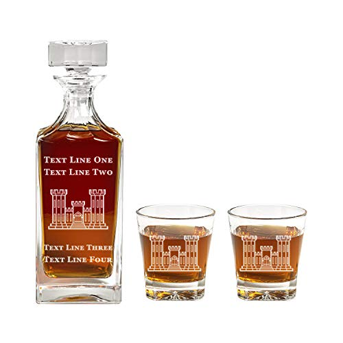 Army Corps of Engineers Decanter Set - 900ml Engraved Decanter w/Army Corps of Engineers Castle - Retirement Gift, Gift for Promotion, Unique Gift - Military Present - ACE Gifts for Men and Women