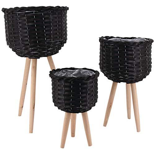 AubryGaspard - Cubremacetas redondas con patas de mimbre tintado, color negro