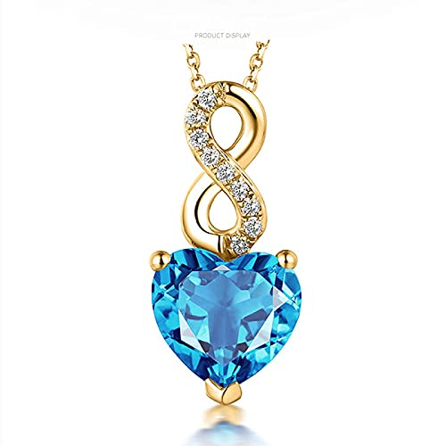 Corazón de océano azul cristal topacio piedras preciosas diamantes collares pendientes para mujeres gargantilla de tono dorado joyería de aguamarina regalo bijoux