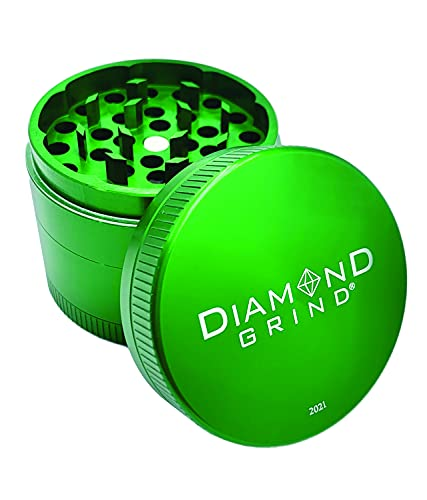 """Diamond Grind 4 Piece Aluminum Herb Grinder with screen 56mm (2.25"""") GREEN"""