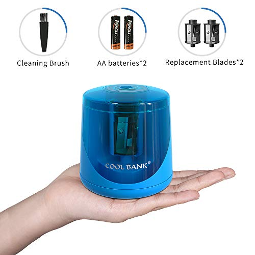 Battery Powered Electric Pencil Sharpener, Fast Sharpen, Suitable for No.2/Colored Pencils(6-8mm), School/Classroom/Office/Home(2 AA batteries, 2 replacement blades and 1 brush included) (BLUE)
