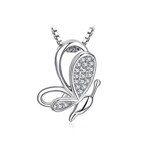 Roapk Butterfly Pendant Necklace 925 Sterling Silver Choker Women Jewelry Chain