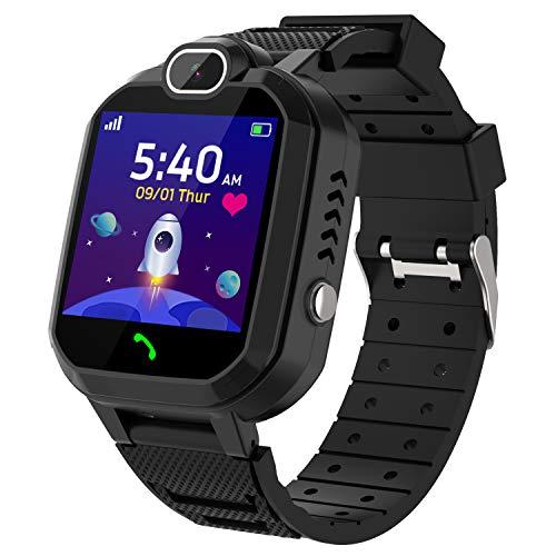 Kinder SmartWatch - MP3 Musik 7 Spiele Kids Smart Watch HD Touchscreen SOS Voice Chat Scherzt Intelligente Uhr mit Telefon Kamera Wecker Recorder Rechner Geschenk für Kinder Junge Mädchen (Schwarz)