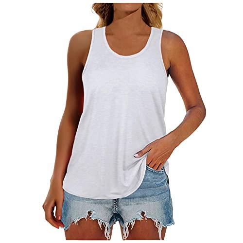 Camiseta sin Mangas Ajustada con Fondo para Mujer Camisola de Longitud Media Color Sólido Suave y Confortable