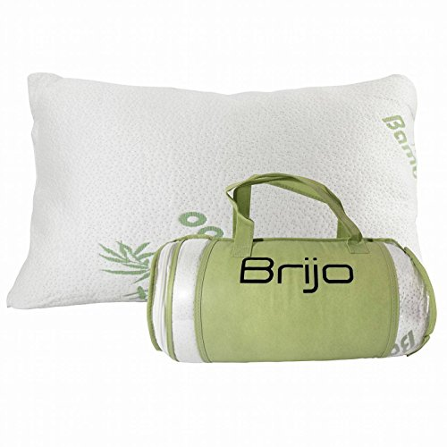 Bamboo Shredded Memory Foam Pillow- Reduce or Eliminate Neck, Back and Shoulder Pain| Side Sleeper, Back or Stomach| Stay Cool Hypoallergenic Anti Snoring| Standard Size by Brijo