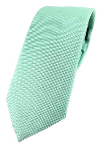 TigerTie - Corbata de diseño moderno con puntos finos. Corbata de 7 cm de ancho., verde menta, Talla única