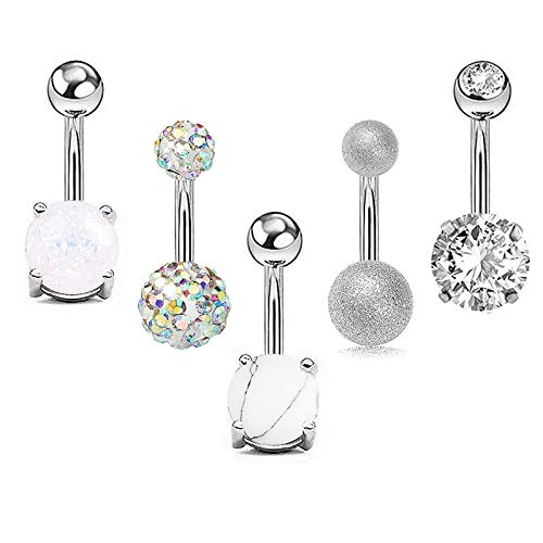 SMXGF 5Pcs / set Vrouwen Navel Button Rings Rose Goud Zilver Medical Staal Rhinestone Sexy Belly Navel Piercing Ring Body Jewelry (Color : Silver)