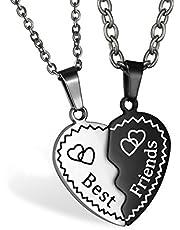 JewelryWe Gioielli Collana Amicizia da Uomo Donna Coppia con Ciondolo Cuore in Acciaio Inossidabile Best Friends