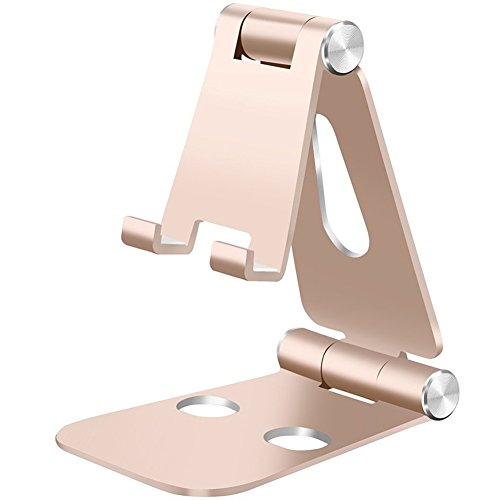 Adjustable Phone Stand,HITASION Portable Foldable Aluminum Cell Phone Tablet Stand Accessories for All Android Smartphone Samsung Note 8 iPhone X 8 7 6 6s Plus Moto Z and More Gold